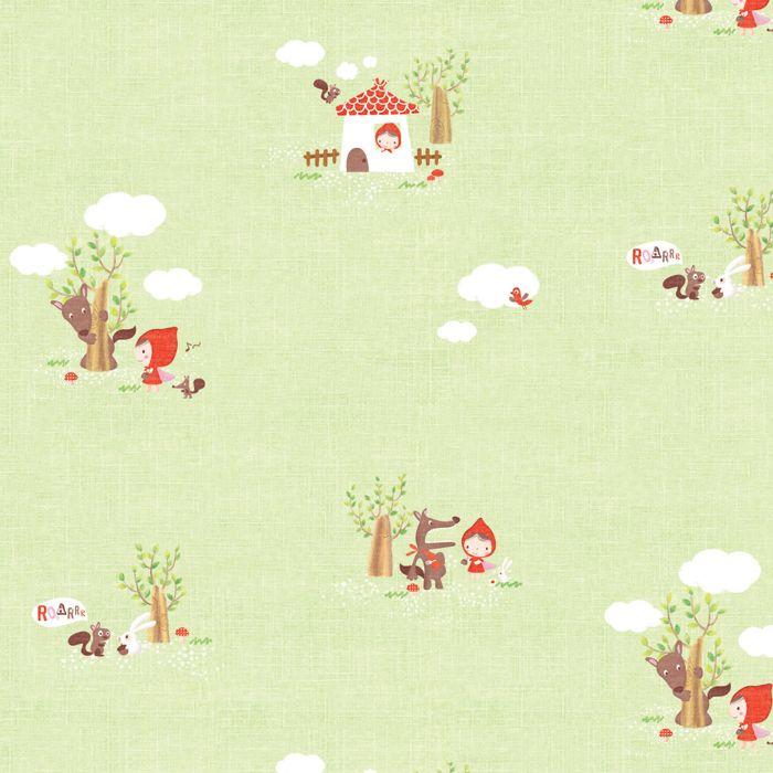 En favorit. Söt och lite rolig. Självhäftande flyttbara/nedtagbara tapeten Rödluvan och vargen.