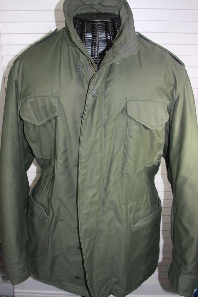 Original Vintage Army Field Jacket Military M-65 Mens Coat Olive Medium #ARmy #Military