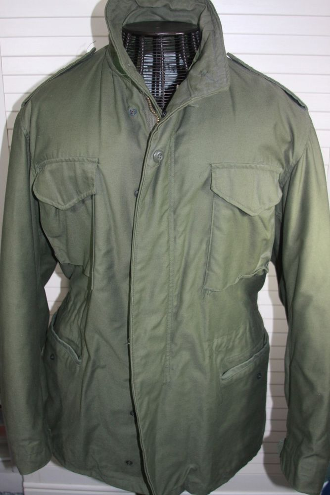 Original Vintage Army Field Jacket Military M-65 Mens Coat Olive Medium #ARmy #Military