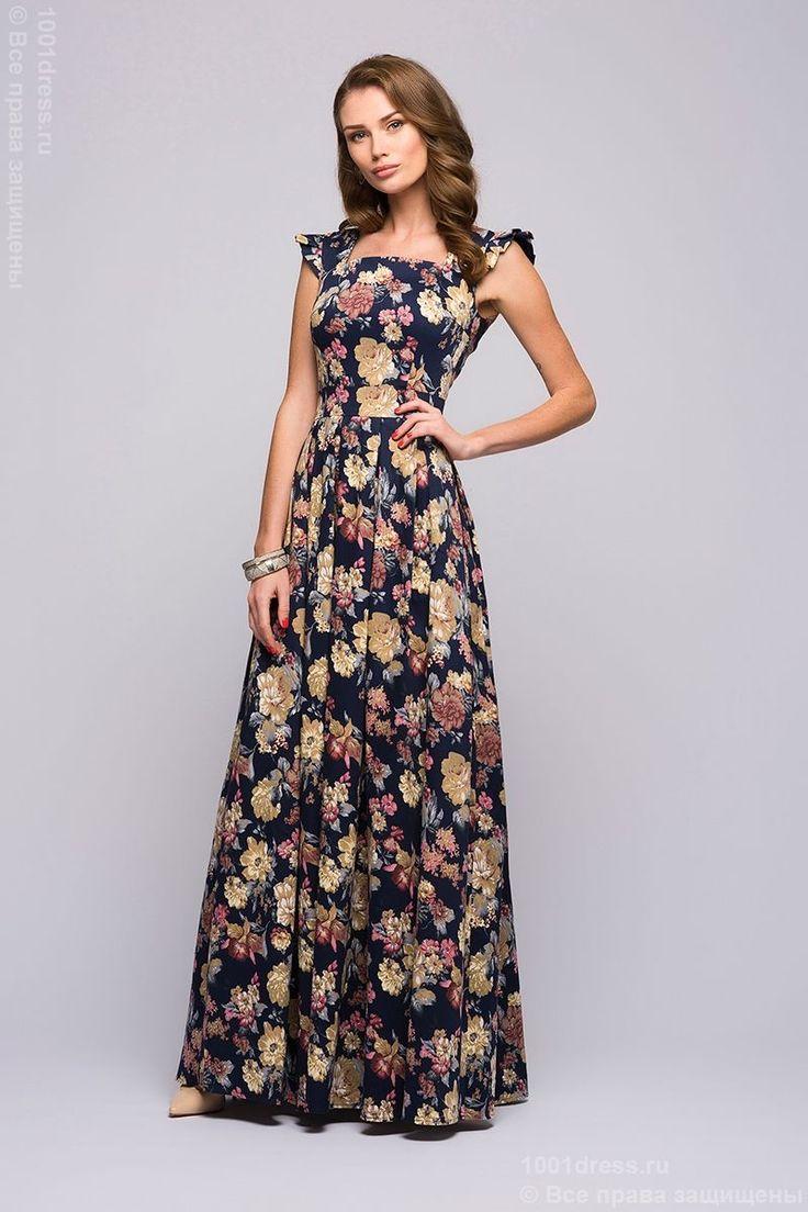 Купить темно-синий сарафан без рукавов с цветочным принтом в интернет-магазин 1001 DRESS