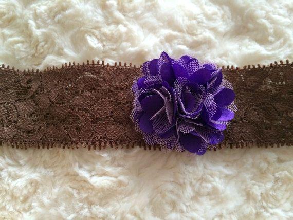 Purple Satin and lace puff flower headband 2'' by LittleShneebs, $5.00 #littleshneebs #babygirl #gift #babyheadband #velcroheadband #brilliant https://www.facebook.com/littleshneebs https://www.etsy.com/ca/shop/LittleShneebs