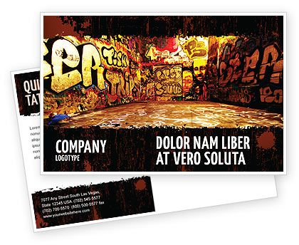 Graffiti Zone Postcard Template in Microsoft Word, Adobe InDesign, 05376, Download Now | PoweredTemplate.com
