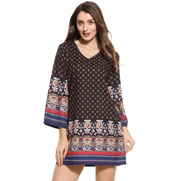 New Women Ethnic Styles V-Neck Long Sleeve Prints Pullover Straight Dress
