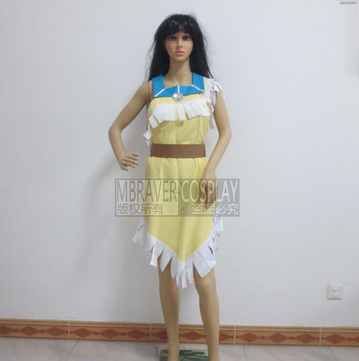 2016 косплей дамы карнавальных костюмов платье дикий запад покахонтас индийский костюм покахонтас косплей