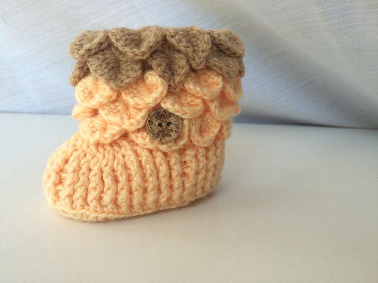 Baby Bootie botín de guagua punto cocodrilo by Maureen robeson