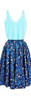 Синяя юбка, бирюзовая блузка