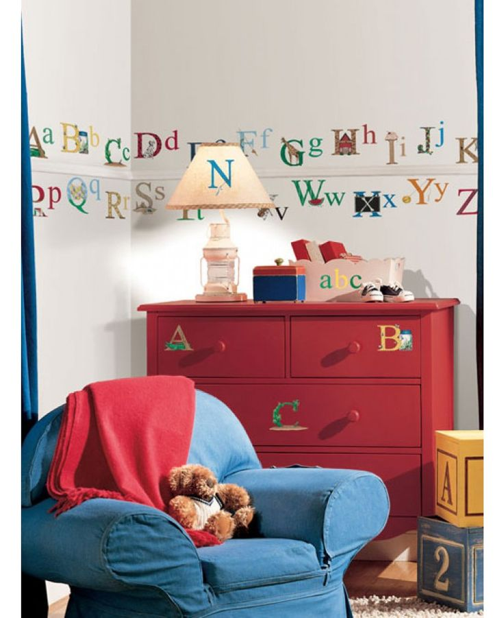 Room Mates Alphabet Wall Stickers are a great way to create a feature with minimal fuss and effort. The alphabet stickers are accompanied by various features indicating their letter ranging from animals, trees, foods and many more.