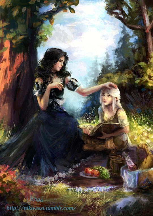 Ciri learning with Yennefer (art by Nikivaszi)