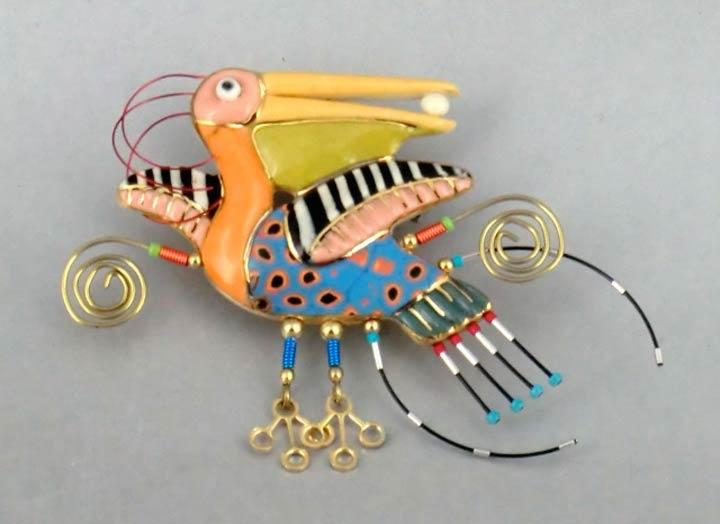 Cynthia Chuang porcelain pin, Pelican