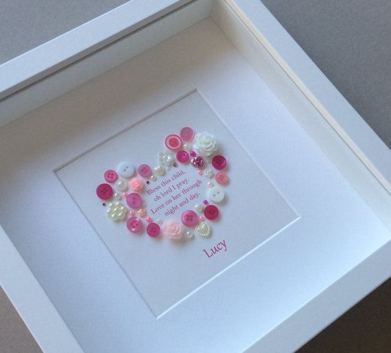 Christening Gift Baptism Gift for Girl Button Art New Baby