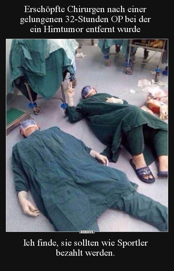 Erschöpfte Chirurgen nach einer gelungenen 32-Stunden OP.. | Lustige Bilder, Sp… – Nagilum
