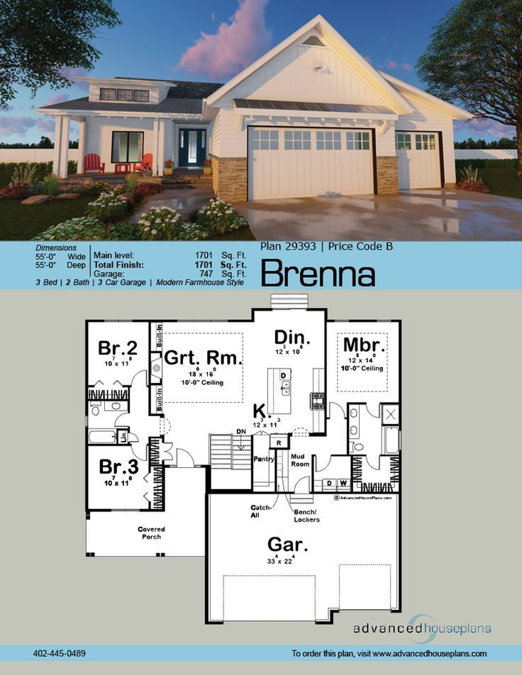 The Brenna house plan is a Modern Cottage ranch with a functional floor plan and unique exterior. It combines eclectic use of materials, not too unlike the craf