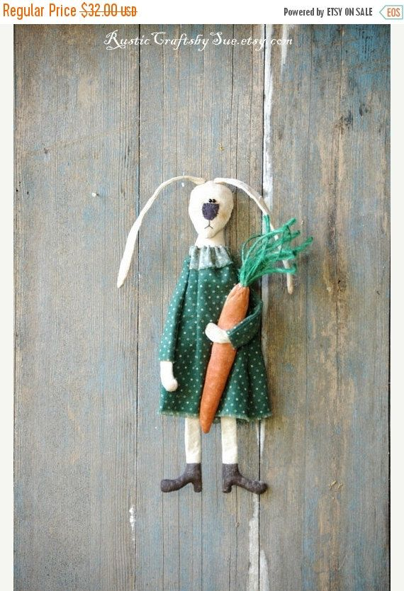 20% OFF Primitive Bunny-Easter Bunny-Ester Decorations-Primitive Easter-Primitive Easter Eggs Garland-Rustic Wall Decor-Easter Wall Decor (25.60 USD) by RusticCraftsbySue