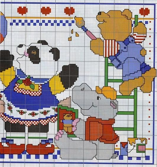 Crianças que pintam animais ponto cruz 2/2