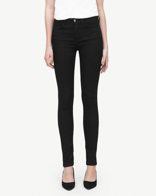 Slim fit denim with a super slim leg in a pitch black stretchy fabric with a slight sheen. Sits on waist with trademark Filippa K stitching that runs across back pockets.A sharp modern denim style that works for both day and night wear. <br/> <br/>  -