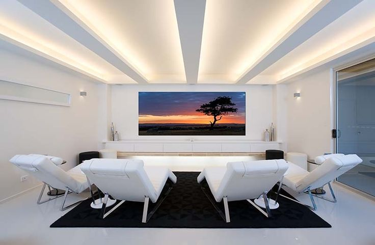Modern Home Theater in White. www.homecontrols.com