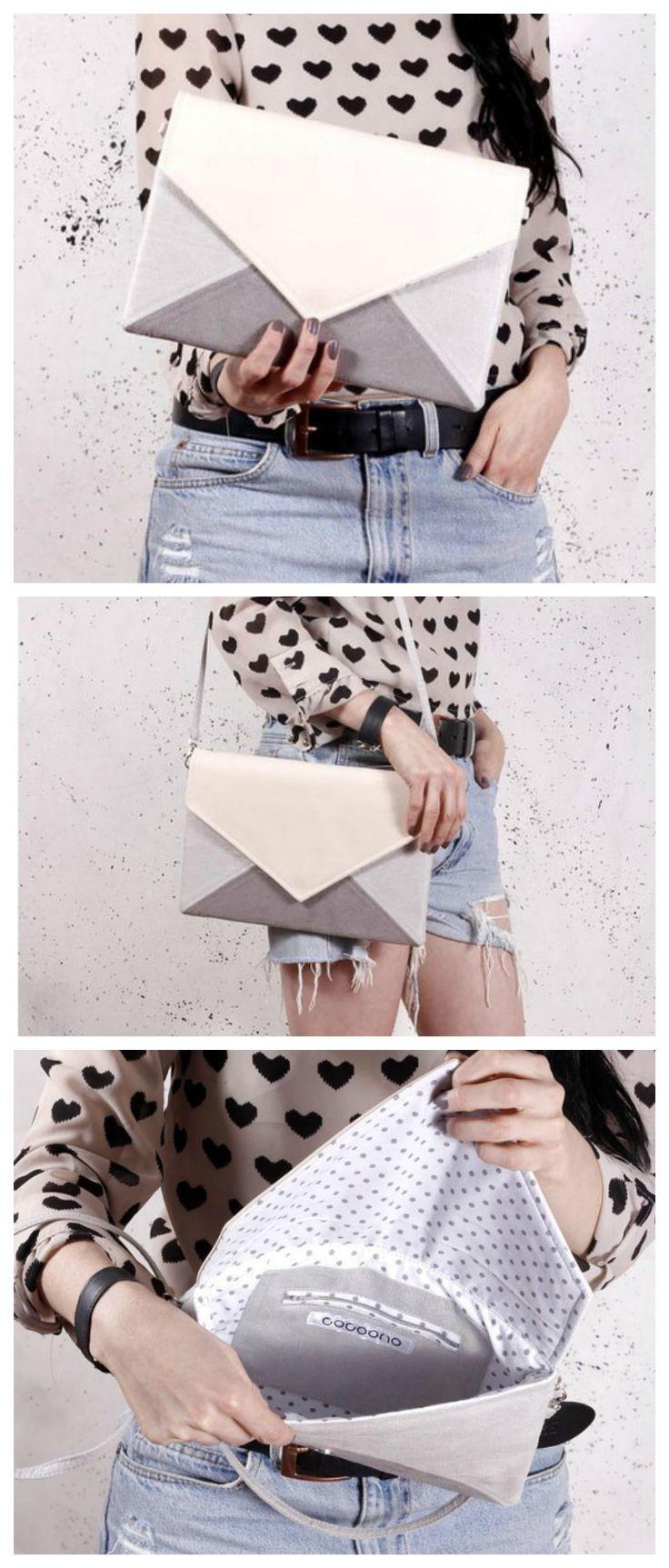 Geräumige Kuverttasche in Grau, Weiß und Pastell Pink, kann als Schultertasche oder Clutch verwendet werden/ big envelope clutch in white, grey and light pink made by cocoono via DaWanda.com