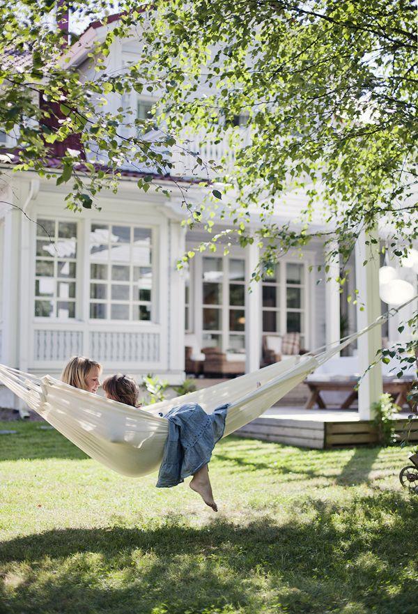 Backyard hammock.