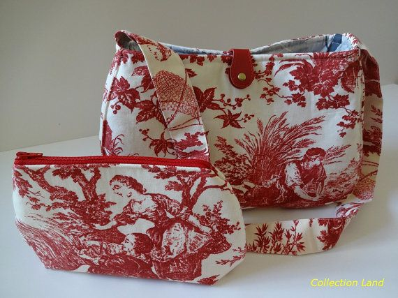 Toile Purse Fabric Handbag Zipper Pouch Cosmetic by CollectionLand