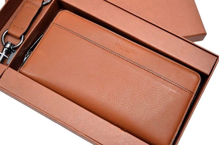 COACH Men's Accordian Zip Around Wallet & Key Fob F64119 Gift Set
