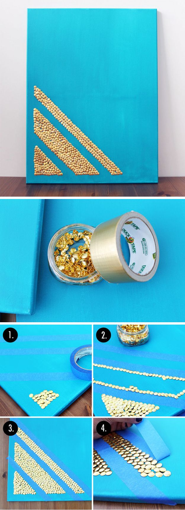 Cool and Simple DIY Wall Art Design | Thumbtack Art By DIY Ready at http://diyready.com/diy-wall-art-you-can-make-in-under-an-hour/