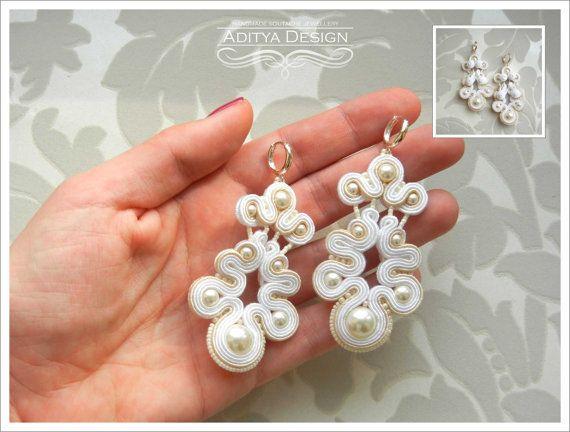 Wedding Earrings White Beige Soutache Earrings by AdityaDesign