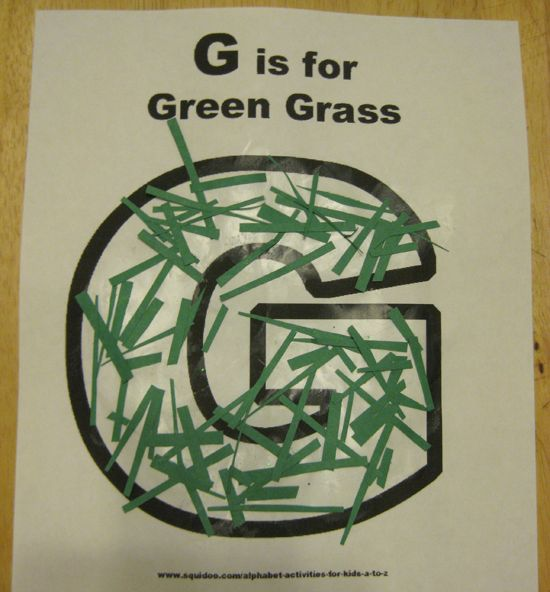 g is for green grass alphabet activites for kids **free worksheet**