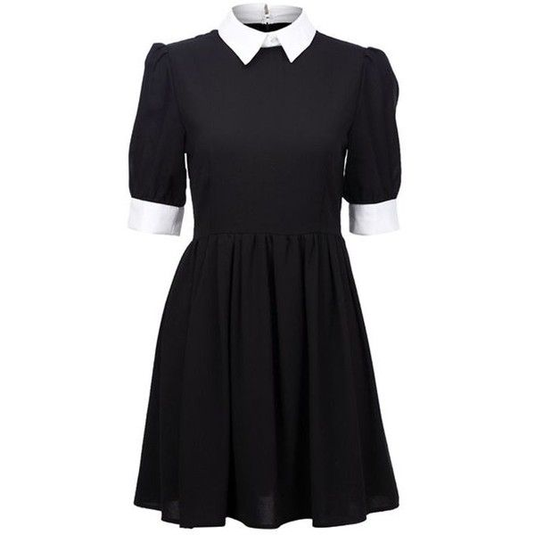 black and white wednesday addams dress with peter pan collar. black... ❤ liked on Polyvore featuring dresses, goth dress, gothic dress, gothic lolita dress, peter pan dress and gothic clothing dresses
