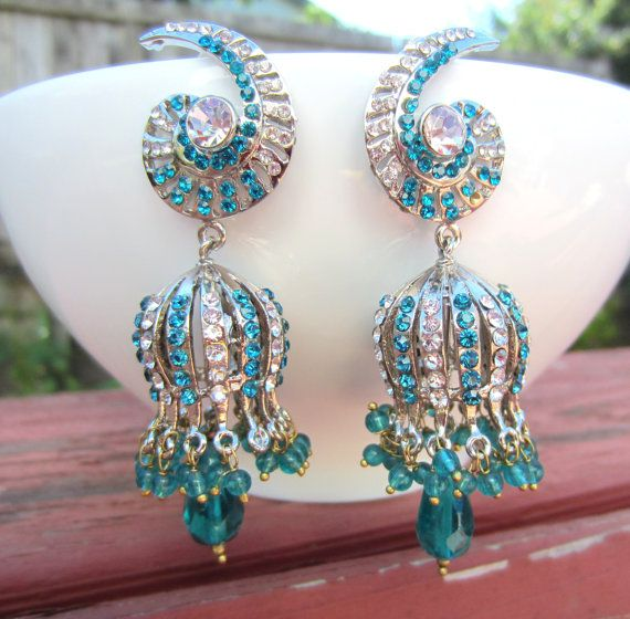 Victorian Style Peacock Blue Stone Chandelier Earrings, Bollywood, East Indian Jewelry