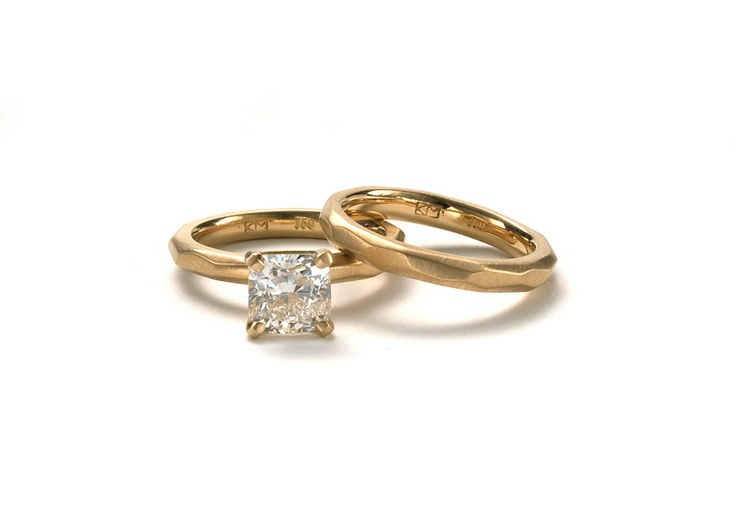 Krista McRae, 18ct yellow gold and cushion cut white diamond engagement ring…