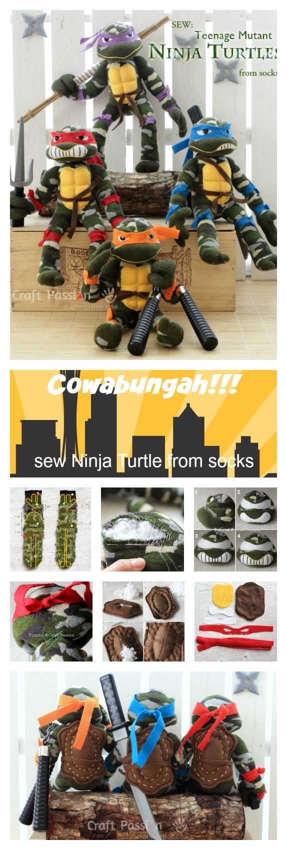 Learn how to sew Sock Ninja Turtle by using a pair of Military Camouflage print socks or dark green socks. Free templates are included for download & print.