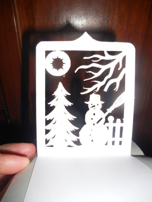 Voici un très jolie modèle de kirigami avec un bonhomme de neige au clair de lune avec un sapin enneigé... un modèle qui ravira vos cartes de voeux ;) Le patron gratuit est à retrouver ici Bonne découpe!!