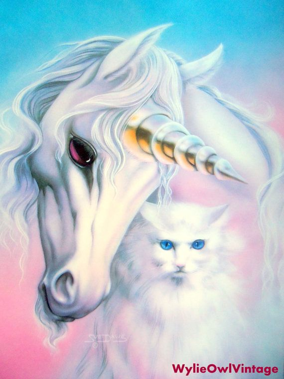Vintage Sue Dawe Unicorn and Cat Poster 1991 by WylieOwlVintage, $10.00