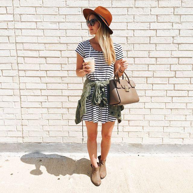 stripes striped dress green jacket tied around waist