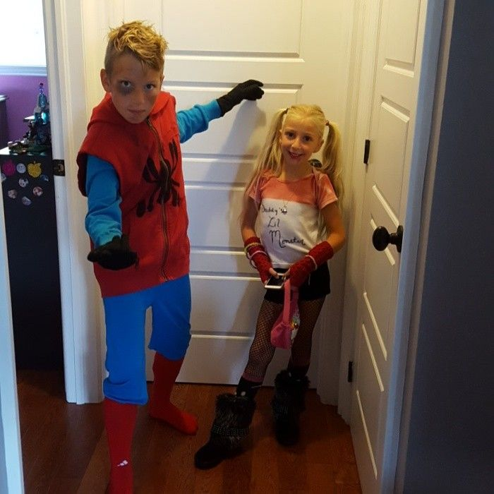 "DIY Homecoming Spiderman homemade costume ""before he got his good suit"" as one kid said and fan expo. $5 red hoodie and Value Village, old Superman pants, red soccer socks and a blue shirt. Sharpe for the spider."