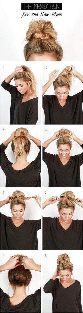 Coole und einfache DIY-Frisuren - Messy Bun - Schnelle und einfache Ideen für Back-to-School-...