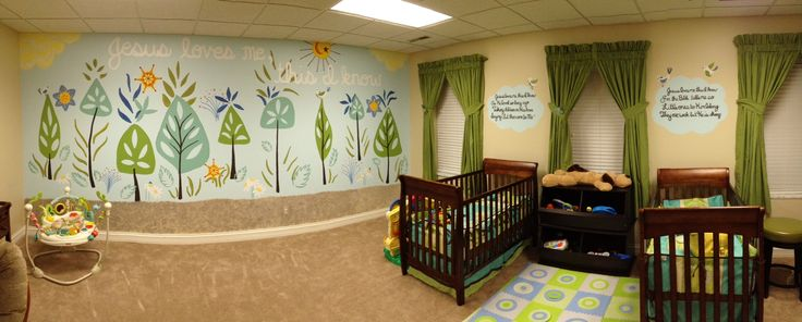 Mural for a church nursery by liz richter trees for Church nursery mural