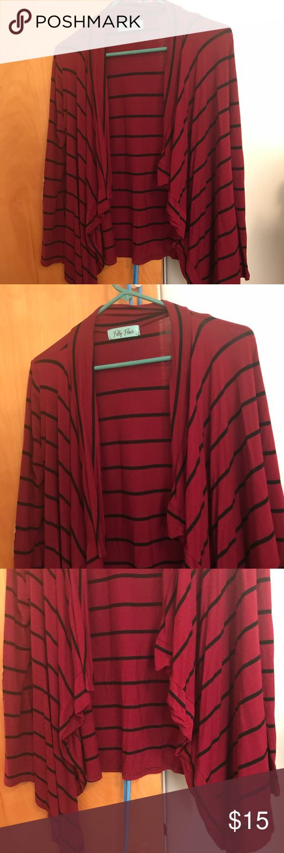 Filly Flair Red Striped Flowy Cardigan Size Small This beautiful red cardigan is a must have! Perfect for layering up in those cold winter months! Cutest elbow patches and very comfortable! ❤️❤️❤️ Only worn once! Fits true to Size! ❤️❤️❤️  Buy 4 items get 1 free! 💕💕💕Lowest priced item is free! 💕💕💕 I have lots of $3 items and makeup accessories! Happy Poshing! 💕💕💕 Filly Flair Sweaters Cardigans