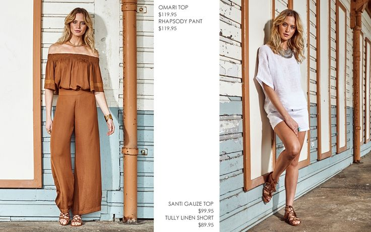 OMARI OFF THE SHOULDER TOP  WITH RHAPSODY WIDE LEG PANT AND SANTI LINEN GAUZE TOP WITH TULLY LINEN  SHORT