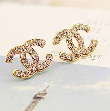 Classic C Gold with Rhinestones Stud Earrings