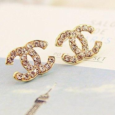 Classic C Gold with Rhinestones Stud Earrings