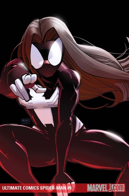 Ultimate Spider Woman/Jessica Drew (in the ultimate dimension, Jessica is the female clone of Peter Parker)