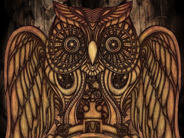 Steampunk Owl Clock by atatos from Bangka Island, Indonesia