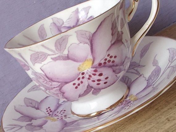 Antique Royal Chelsea hand painted tea cup, purple teacup, English tea cup, violet and white bone china tea cup, purple wedding gift