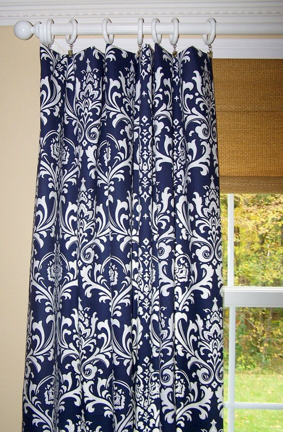 NAVY BLUE DAMASK Curtains Premier Fabric by Cathyscustompillows, $109.00