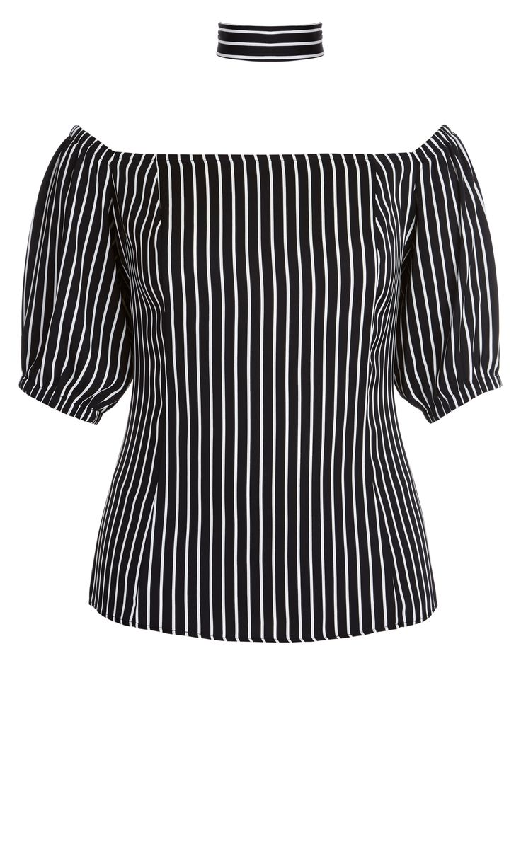 The choker trend gets an update with the Striped Tie Neck Top.    Key Features Include:  - Off the shoulder neckline  - Matching neck tie  - Elasticated upper hem  - Short sleeve with elastic cuff  - Open ended exposed back zip closure  - Relaxed fit  - Unlined
