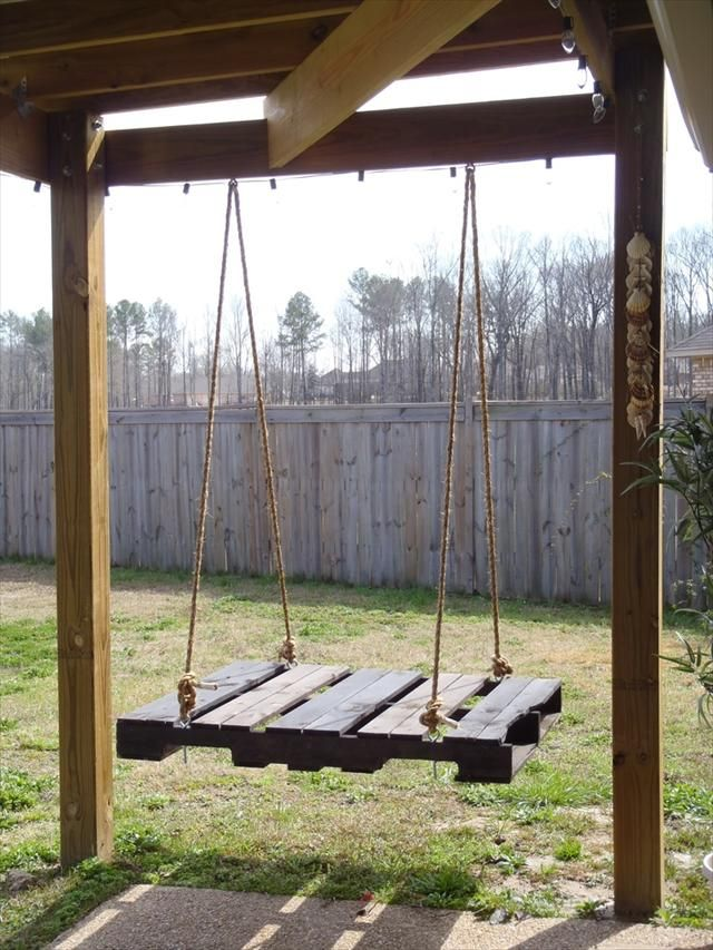 My dad needs to give me all of his pallets now. 40 DIY Pallet Swing Ideas | 99 Pallets