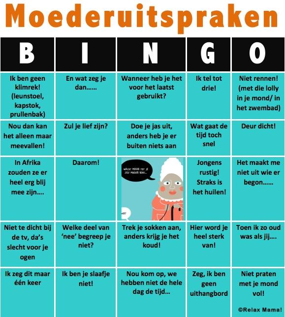 Bingo voor mama's! Schiet er soms ook zo'n rasechte moederuitspraak uit jouw mond? ;-)