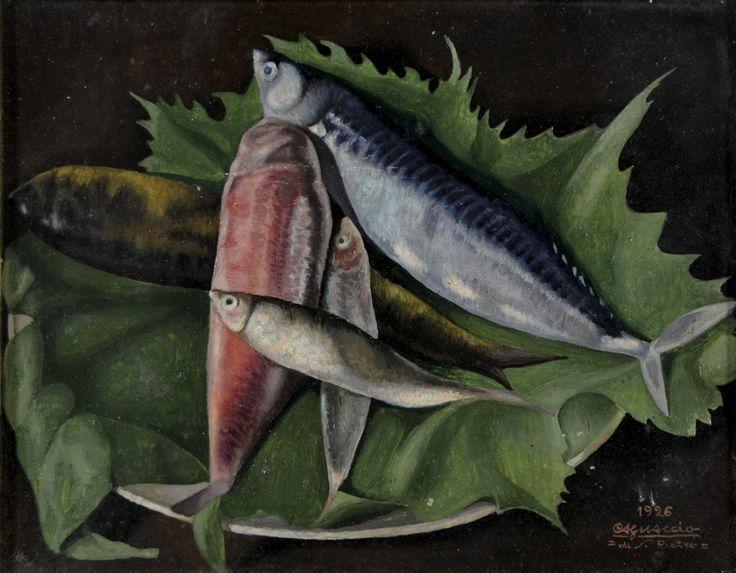 amare-habeo: Cagnaccio di San Pietro (Italian, 1897 – 1946) Still life with fish (Natura morta con pesci), 1926 Oil on cardboard, 23 x 29 cm
