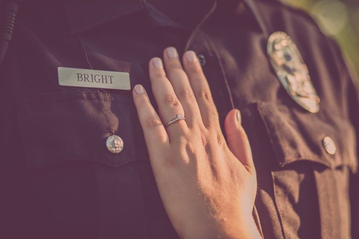 Police engagement photos - Thin Blue Line - police engagement pictures - police name tag - engagement ring